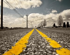 yellow lines on a road