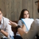 young couple meeting with psychologist